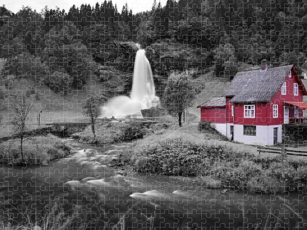 Puzzle featuring the photograph Steinsdalsfossen by Pop