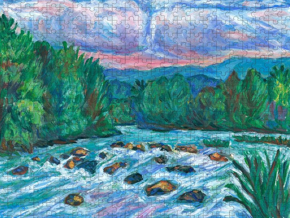 Landscape Puzzle featuring the painting Stepping Stones on the New River by Kendall Kessler
