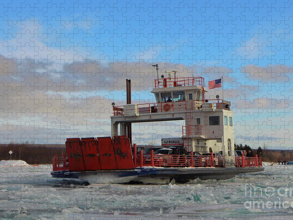Sugar Island Ferry Puzzle featuring the photograph Sugar Island Ferry Michigan Winter -0012 by Norris Seward