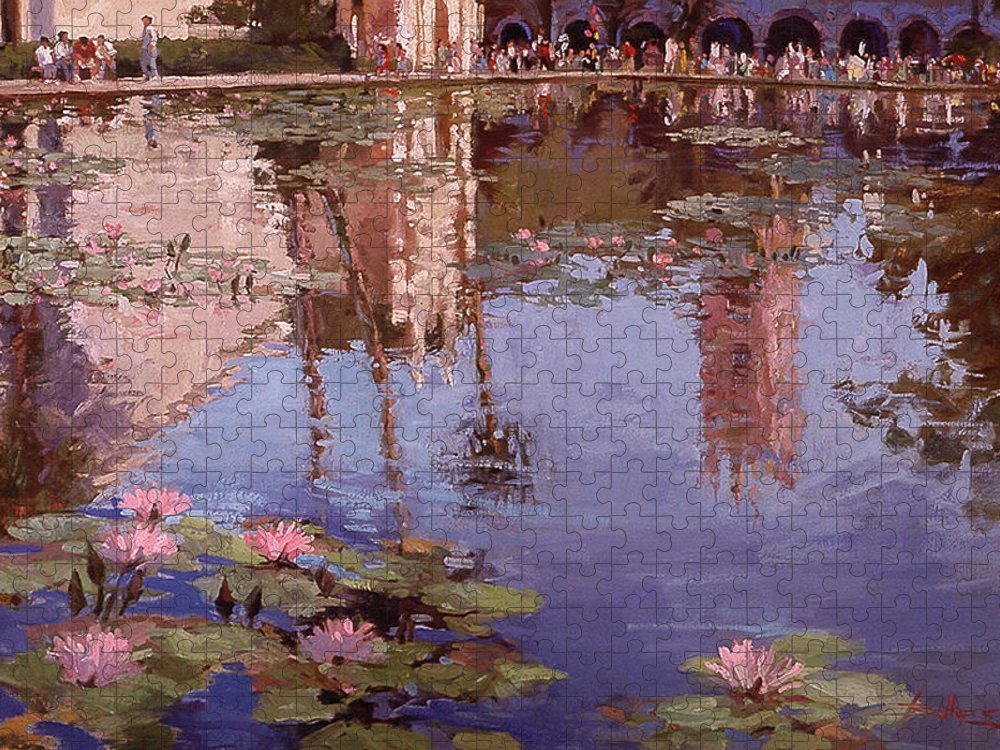 Water Lily Paintings Puzzle featuring the painting Sunday Reflections - Balboa Park by Betty Jean Billups