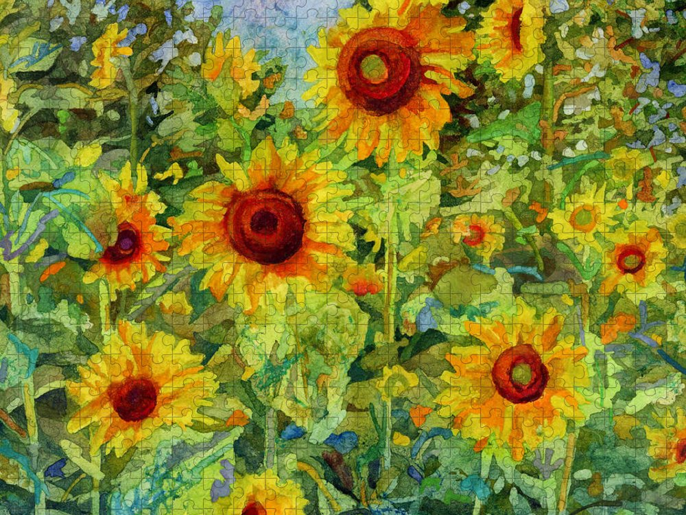 Sunflower Puzzle featuring the painting Sunny Meadow-square format by Hailey E Herrera