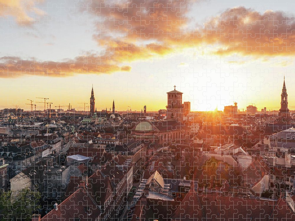 City Puzzle featuring the photograph Sunset above Copenhagen by Hannes Roeckel