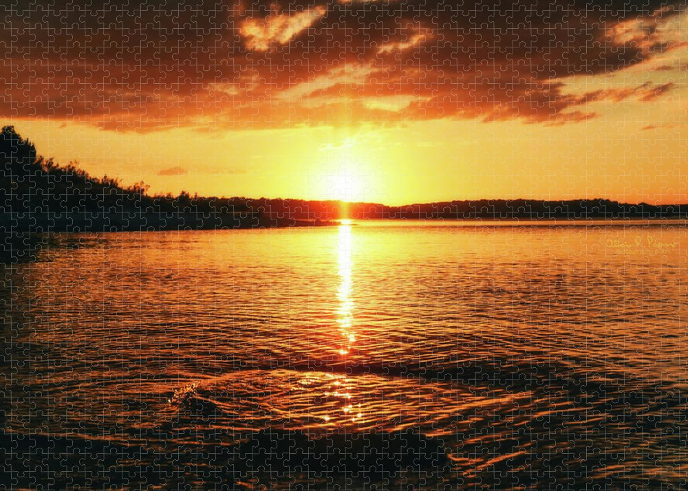 Water Puzzle featuring the photograph Sunset On The Lake by Alicia R Paparo
