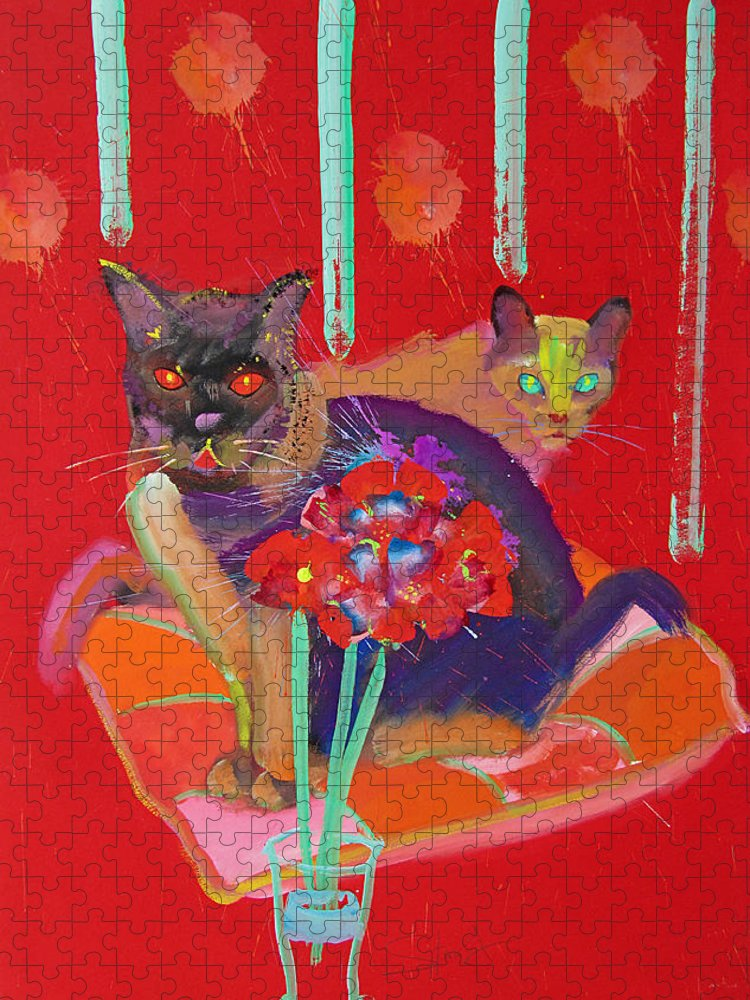 Burmese Cat Puzzle featuring the painting Symphony In Red Two by Charles Stuart