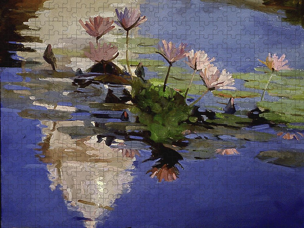 Water Lilies Puzzle featuring the painting The Dome - Water Lilies by Betty Jean Billups