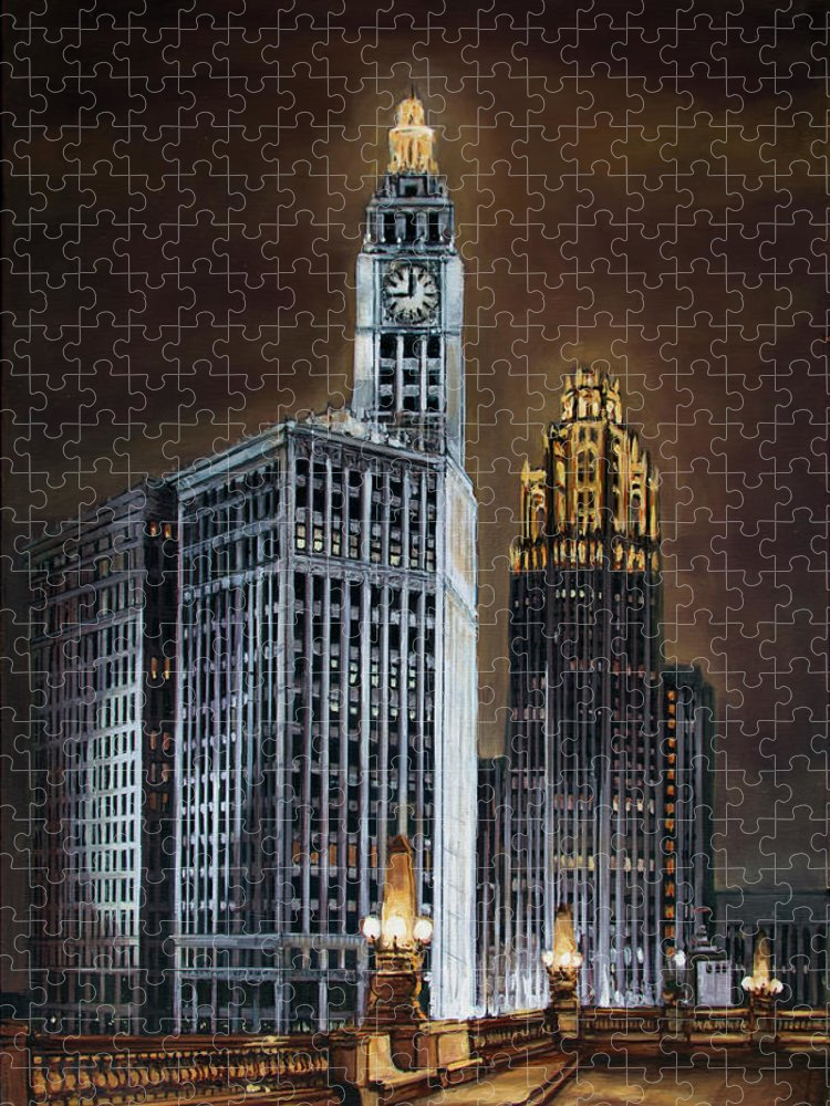 Chicago Puzzle featuring the painting The Wrigley Building and Tribune Tower by Christopher Buoscio