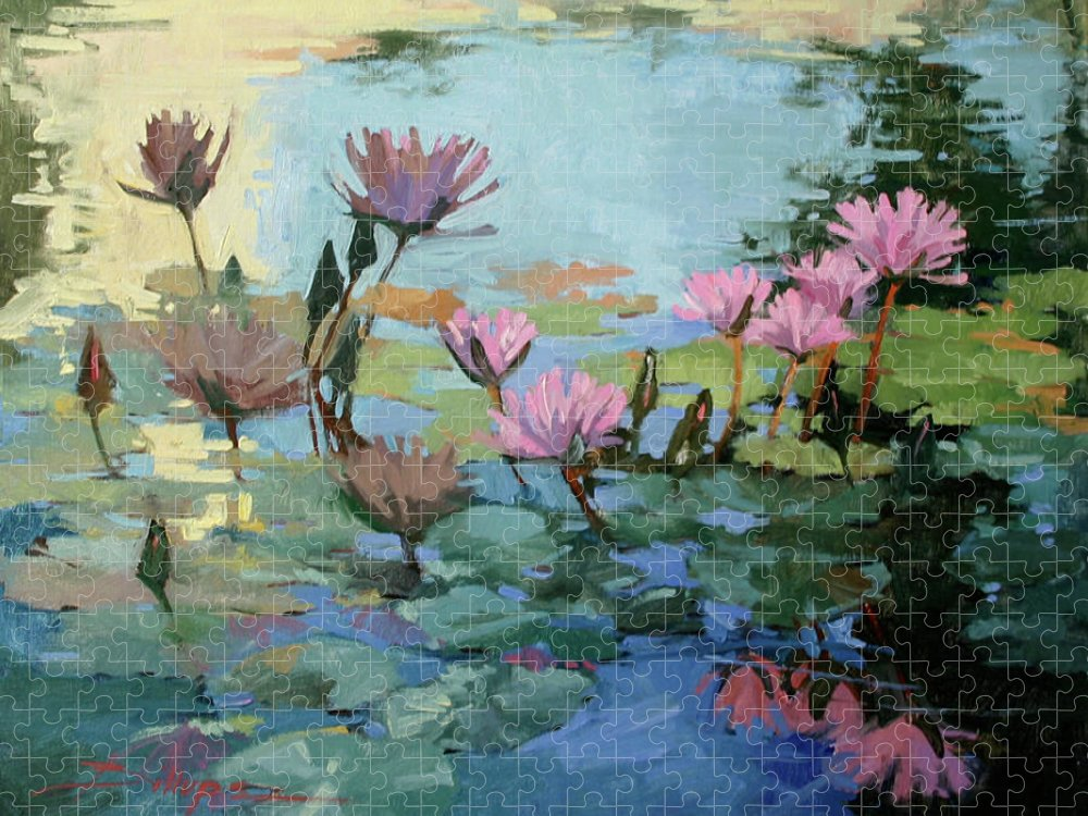Floral Puzzle featuring the painting Times Between - water Lilies by Betty Jean Billups