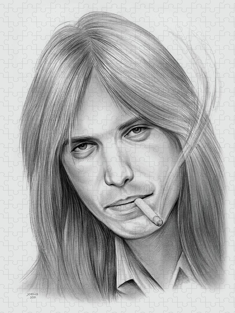 Tom Petty Puzzle featuring the drawing Tom Petty - Pencil by Greg Joens