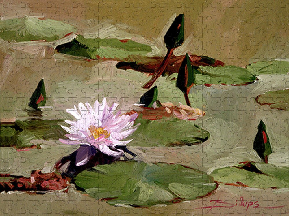Water Lily Paintings Puzzle featuring the painting Tomorrow's Blooms- Water Lilies by Betty Jean Billups