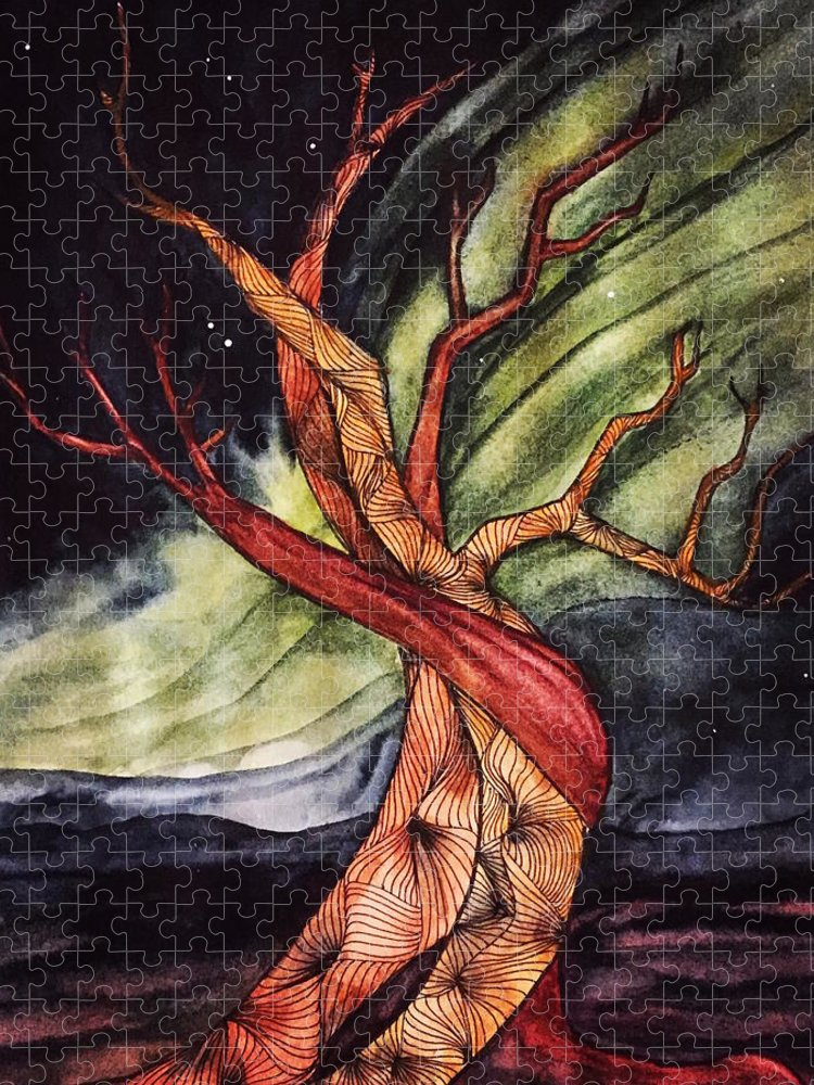 Tree Puzzle featuring the painting Tree with Northern Lights by Vonda Drees