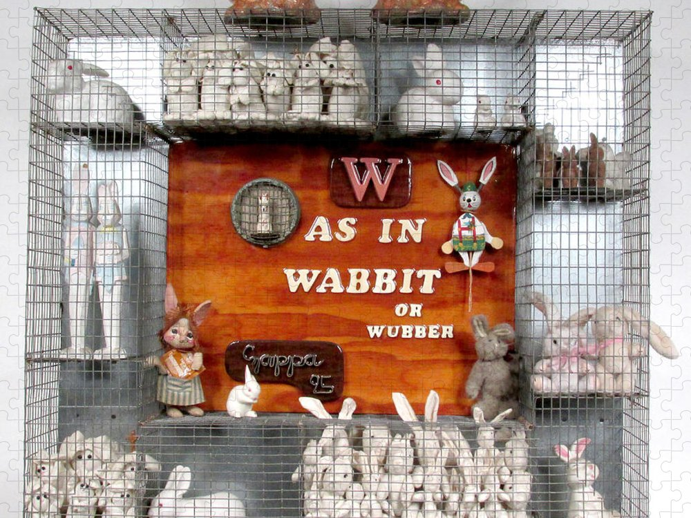 Rabbits Puzzle featuring the sculpture W As In Wabbit  by Bill Czappa