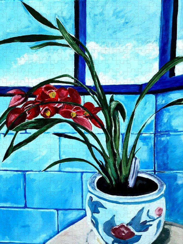 Still Life Puzzle featuring the painting Welcome Flower by Andrew Johnson
