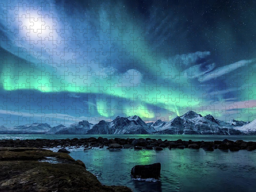 Moon Puzzle featuring the photograph When the moon shines by Tor-Ivar Naess