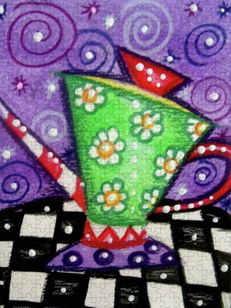 Whimsical Puzzle featuring the painting Whimsical Green Teapot by Monica Resinger