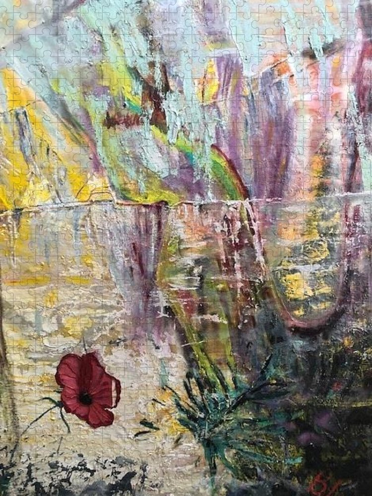 Flower Puzzle featuring the painting Sunset on Wilmington  by Peggy Blood