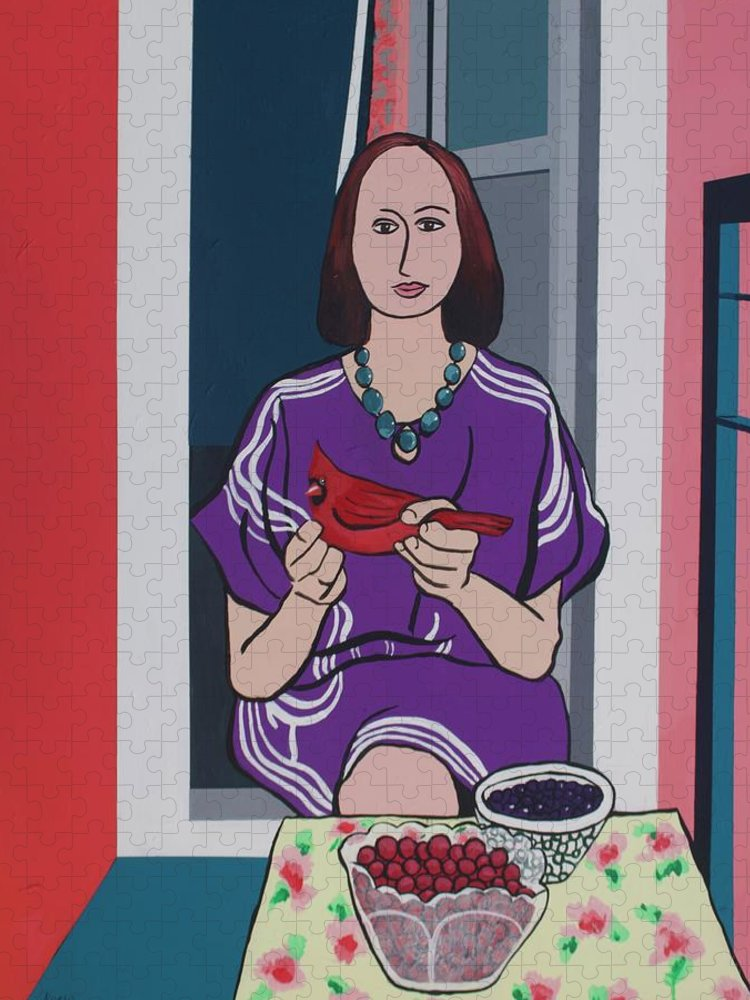 Bird Puzzle featuring the painting Woman, Bird, and Berries - A Tribute to Henri Matisse by Rollin Kocsis