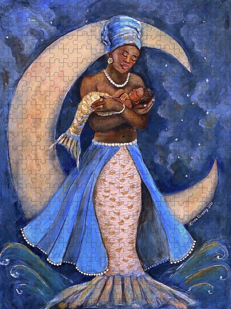 Yemaya Puzzle featuring the painting Yemaya by Linda Queally