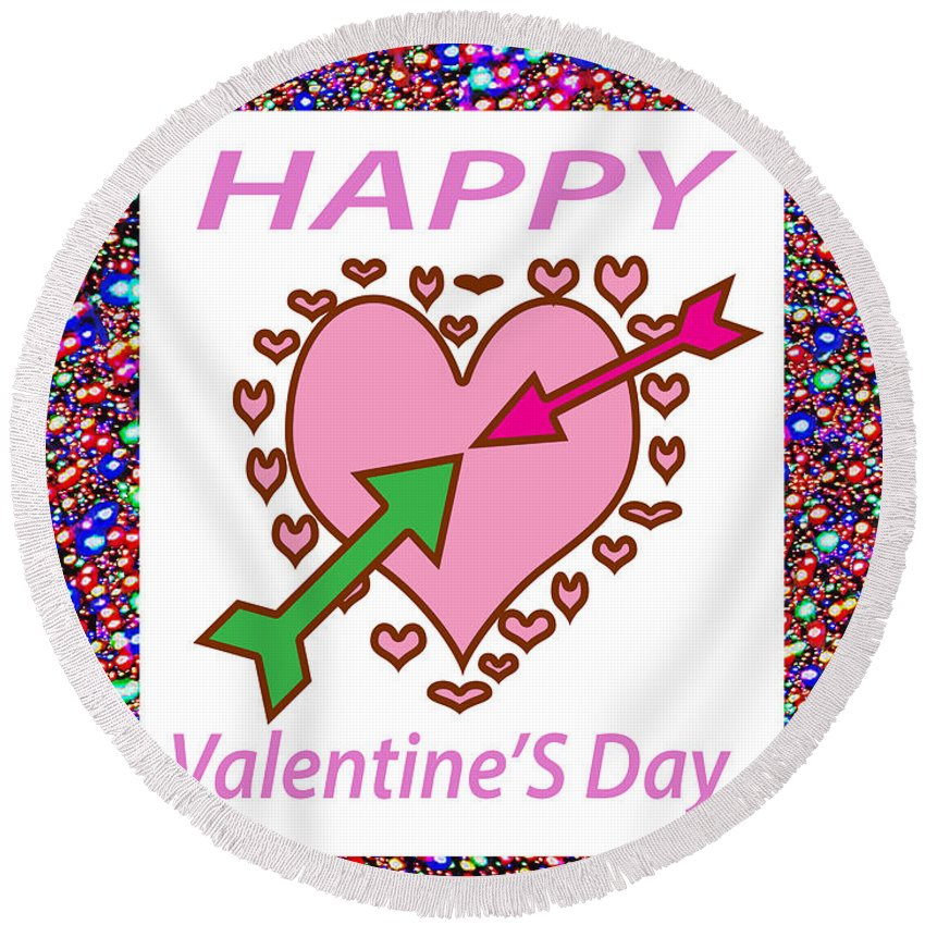 Happy Valentine's Day Greeting Card Round Beach Towel featuring the mixed media    Happy Valentine's Day by Navin Joshi