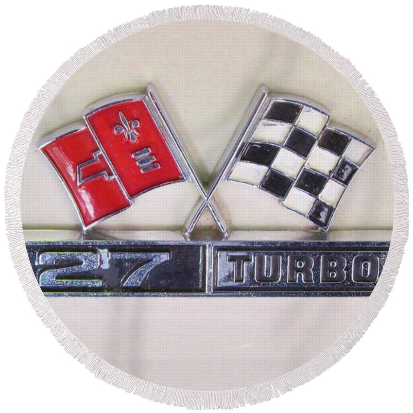 Corvette Emblem Round Beach Towel featuring the photograph  427 Turbo Jet Corvette Emblem by Donna Wilson
