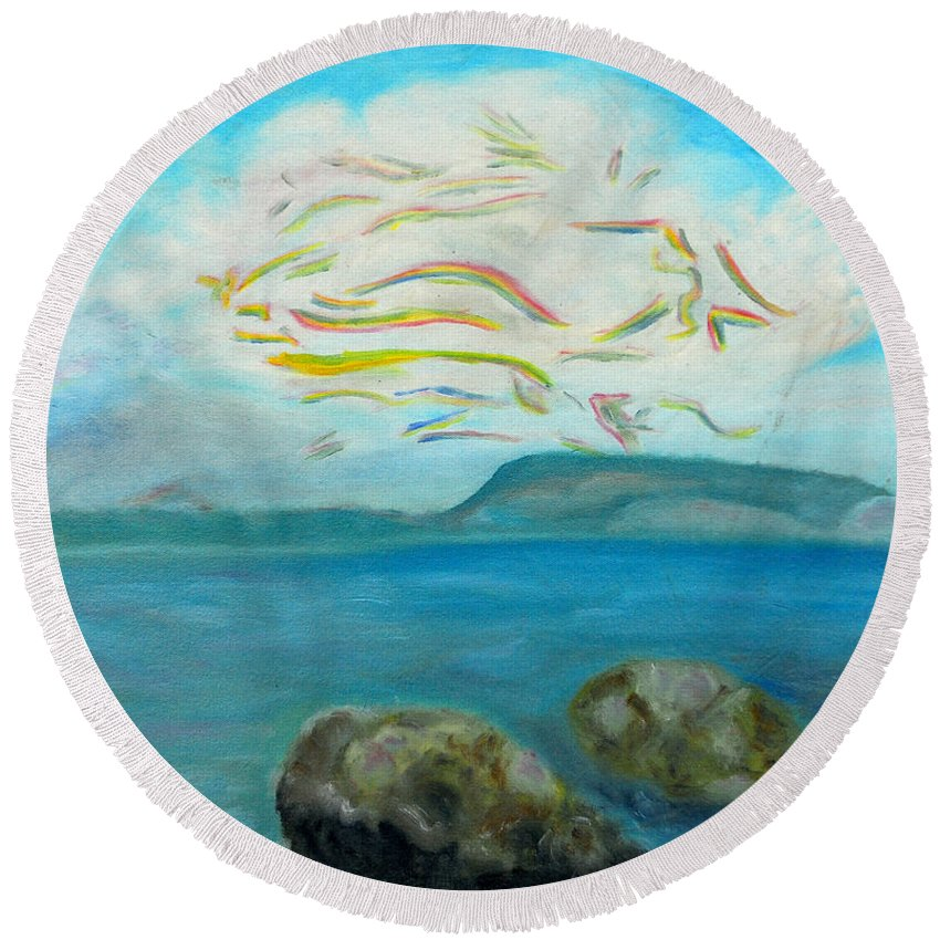 Augusta Stylianou Round Beach Towel featuring the painting A Cloud Over The Sea by Augusta Stylianou