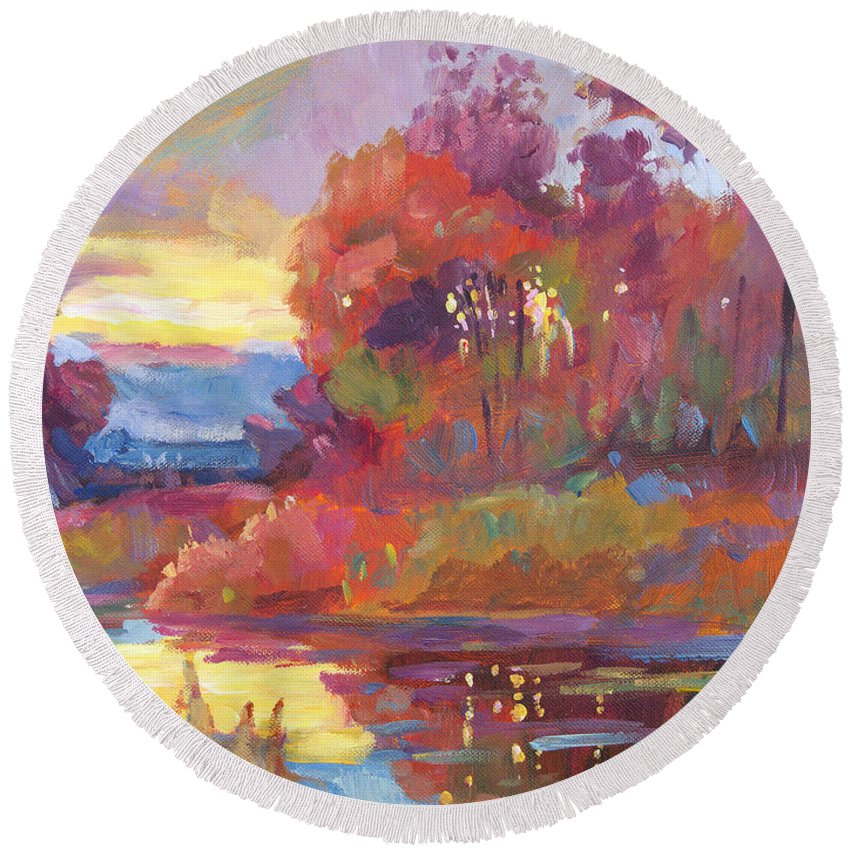 Impressionist Round Beach Towel featuring the painting Autumn Light by David Lloyd Glover