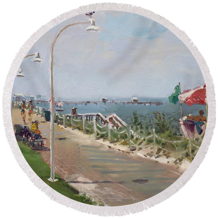 Norfolk Round Beach Towel featuring the painting Beach Border Walk In Norfolk Va by Ylli Haruni