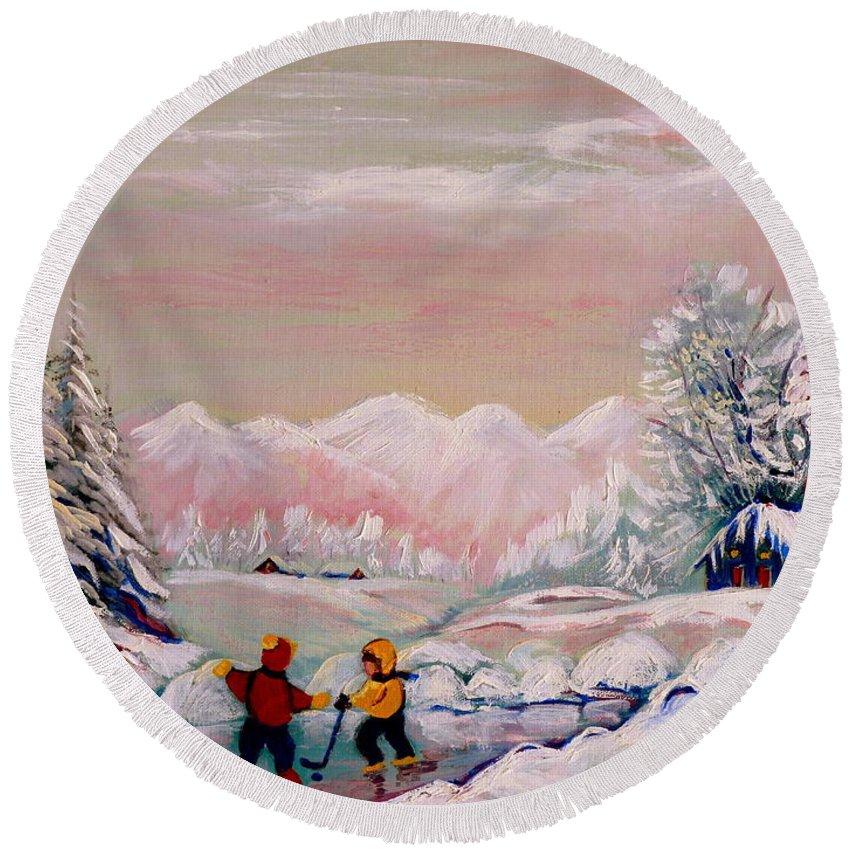 Beautiful Winter Fairytale Round Beach Towel featuring the painting Beautiful Winter Fairytale by Carole Spandau