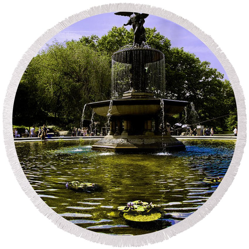 Bethesda Fountain Round Beach Towel featuring the photograph Bethesda Fountain - Central Park by Madeline Ellis