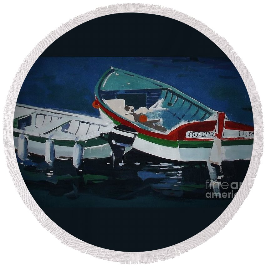 Fisherman's Boats Round Beach Towel featuring the painting Boats by Andrew Drozdowicz