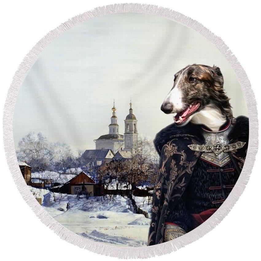 Borzoi Round Beach Towel featuring the painting Borzoi - Russian Wolfhound Art Canvas Print by Sandra Sij