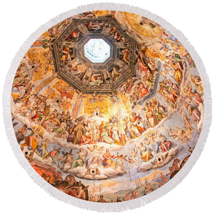 Arch Round Beach Towel featuring the photograph Brunelleschi Cupola Of Florence Duomo. by Luciano Mortula