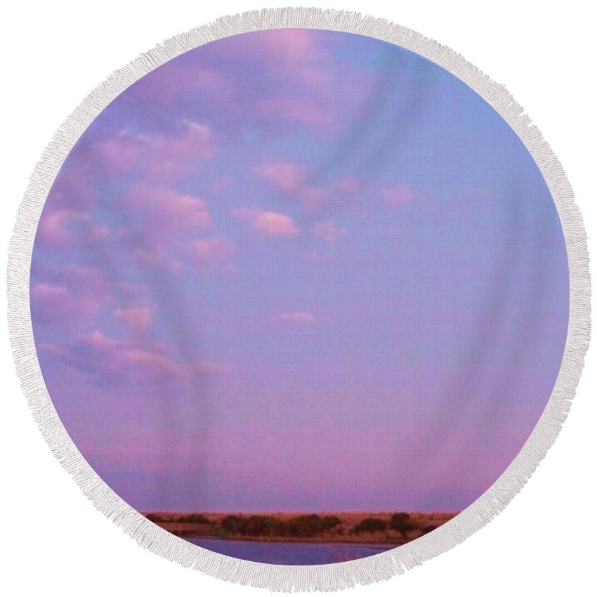 Cape May Point Round Beach Towel featuring the photograph Cape May Point Lake And Clouds by Eric Schiabor