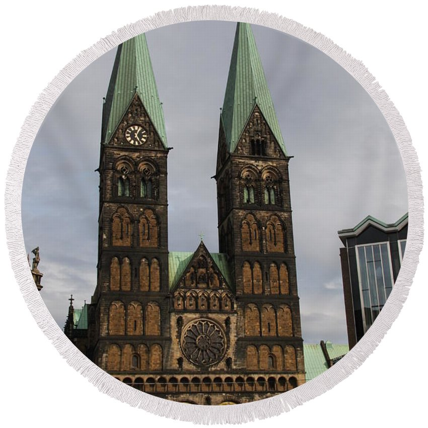 Cathedral Round Beach Towel featuring the photograph Cathedral Bremen - Germany by Christiane Schulze Art And Photography