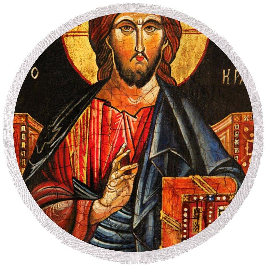 Christ The Pantocrator Icon Ii Round Beach Towel featuring the painting Christ The Pantocrator Icon II by Ryszard Sleczka
