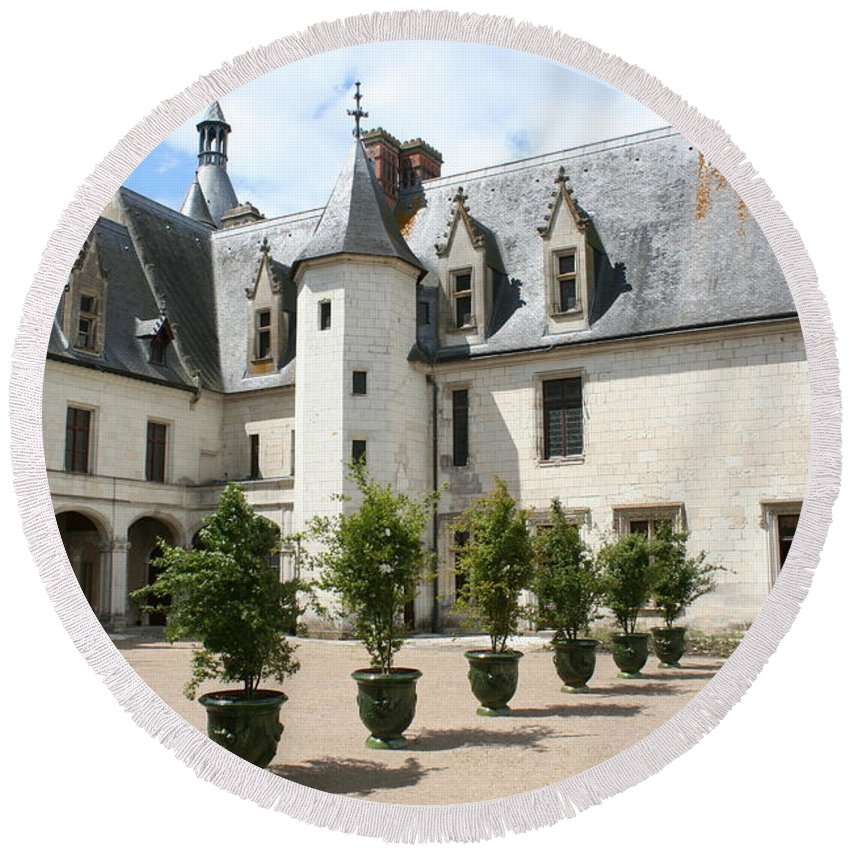Palace Round Beach Towel featuring the photograph Courtyard Chateau Chaumont by Christiane Schulze Art And Photography