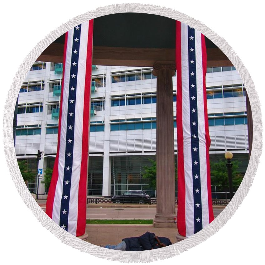 Homeless In Denver Round Beach Towel featuring the photograph Denver Civic Centre Homeless by John Malone