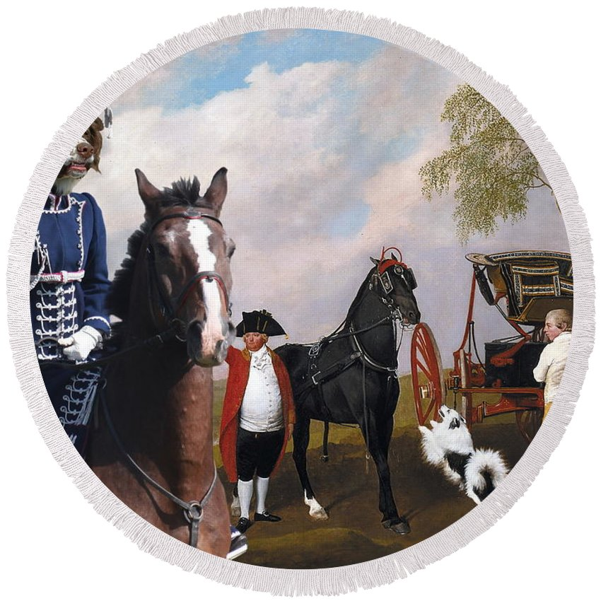 Drentse Patrijshond Round Beach Towel featuring the painting Drentse Patrijshond Art Canvas Print - The Prince Of Waless Phaeton by Sandra Sij