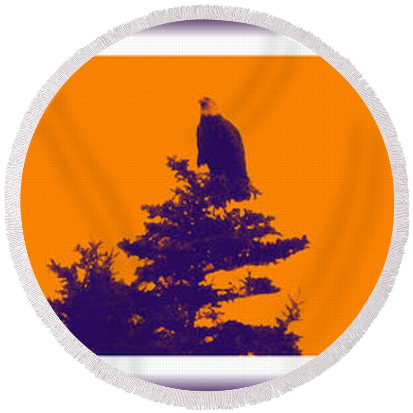Sunset Round Beach Towel featuring the photograph Eagle Scout At Sunset by Barbara Griffin
