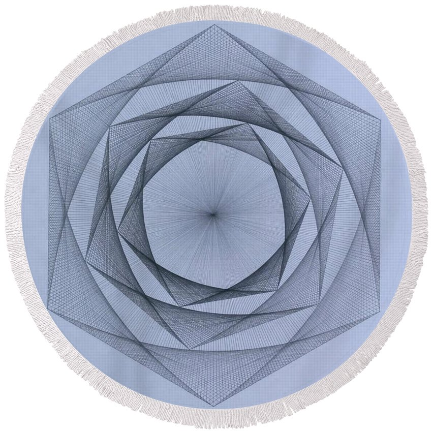 Jason Padgett Round Beach Towel featuring the drawing  Energy Spiral by Jason Padgett