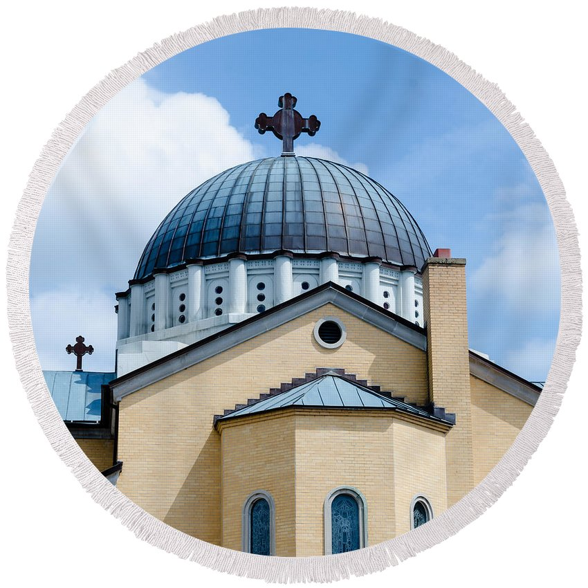 Holy Round Beach Towel featuring the photograph Exterior Of Holy Trinity Gree by Alex Grichenko