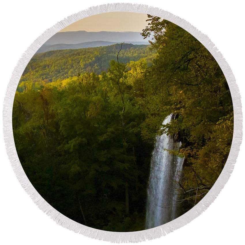 Falling Spring Valley Round Beach Towel featuring the photograph Falling Spring Falls by Greg Reed