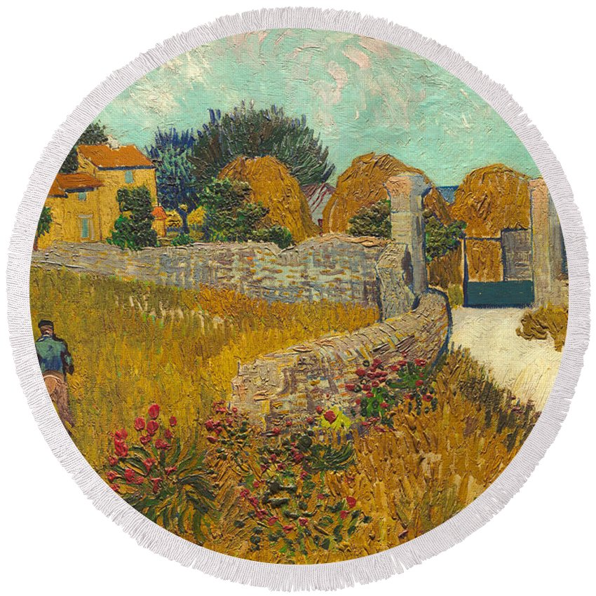Farmer; Agriculture; Field; Farm; France; South Of France Round Beach Towel featuring the painting Farmhouse In Provence by Vincent van Gogh