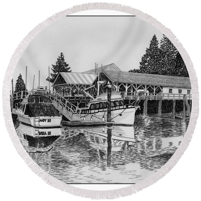 Net Sheds Round Beach Towel featuring the drawing Net Shed Gig Harbor by Jack Pumphrey