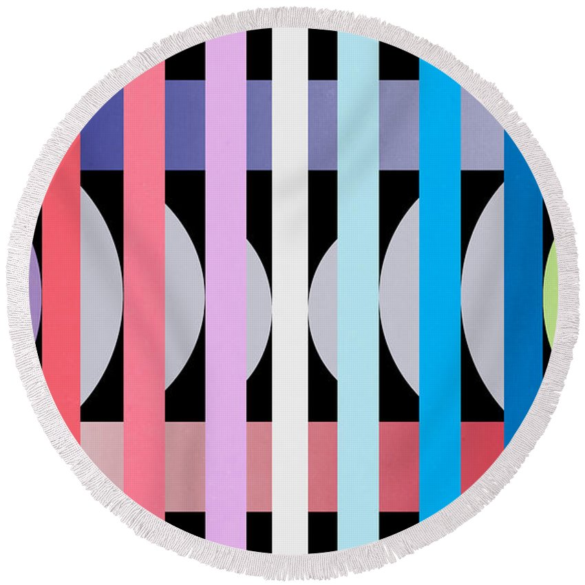 Contemporary Round Beach Towel featuring the painting Fun Geometric by Mark Ashkenazi