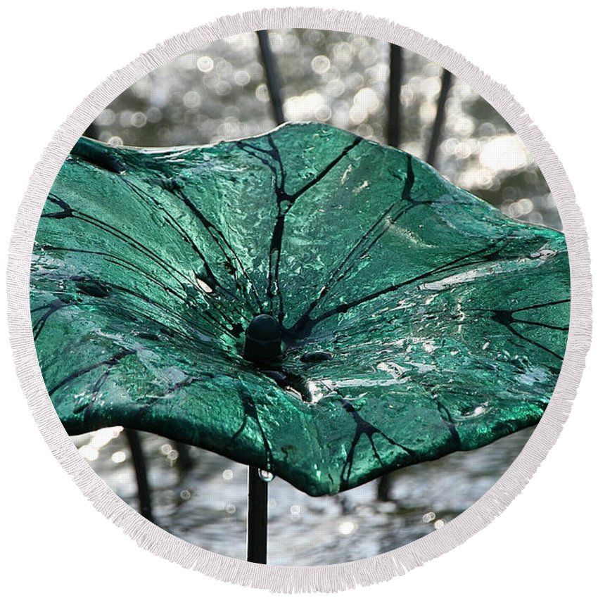 Glass Round Beach Towel featuring the photograph Glass Lily Pad by Susan Herber