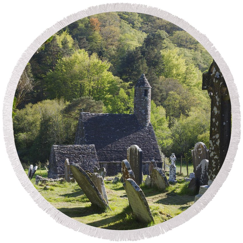 Horizontal Round Beach Towel featuring the photograph Glendalough Ireland by Patrick McGill