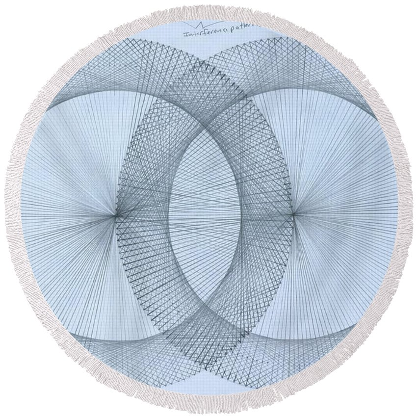 Fractal Round Beach Towel featuring the drawing Magnetism by Jason Padgett