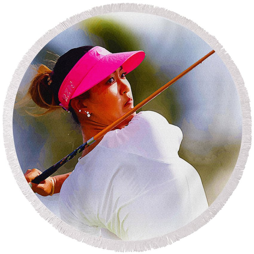 Canada Round Beach Towel featuring the digital art Michelle Wie Hits A Tee Shot by Don Kuing