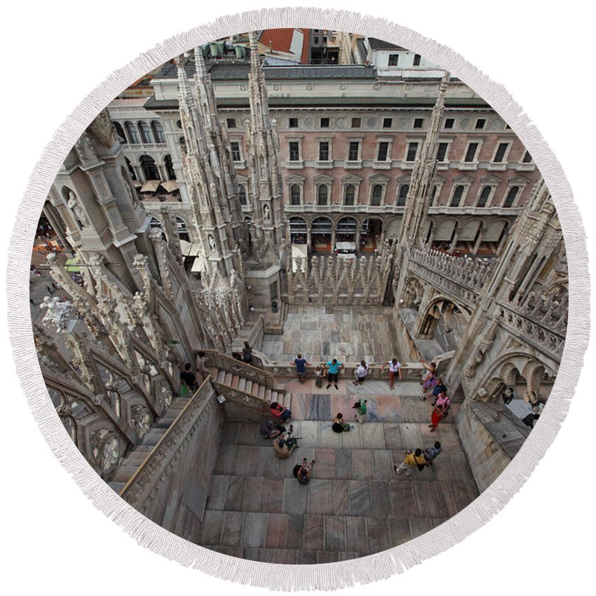 Italy Round Beach Towel featuring the photograph Milan From The Roof by Susan Rovira