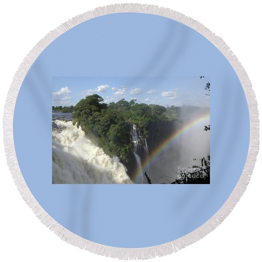 Waterfall Round Beach Towel featuring the photograph Mist And Rainbow At Victoria Falls by Barbie Corbett-Newmin
